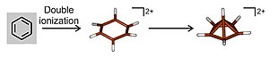 Hexamethylbenzene - Image: Oxidation of benzene to its dication
