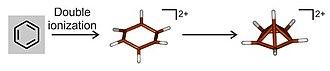 Hexamethylbenzene - Image: Oxidation of benzene to its dication