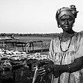 Pêcherie traditionnelle, salaison du poisson, femme de Joal Fadiouth, Sénégal.jpg