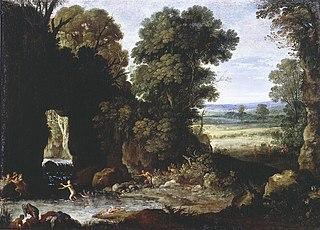 Landschap met nymphen en satyrs