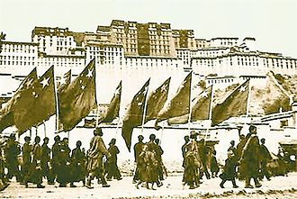 Incorporation of Tibet into the People's Republic of China - PLA marching into Lhasa in October 1951