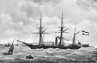 Japanese barque Kankō Maru - Image: Paddle steamer Soembing gift by King William III