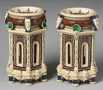Saint-Porchaire ware - Pair of Mintons salts, signed by Charles Toft, 1870s, Metropolitan.