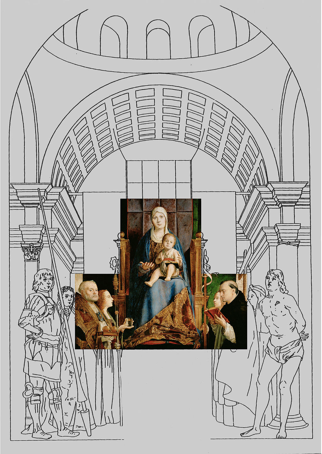 Pala di San Cassiano, Reconstruction of altarpiece with existing fragments and existing copies of lost fragments
