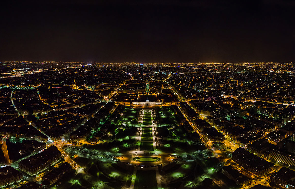 File Panorama From The Eiffel Tower At Night Paris 20 April 2013 Jpg Wikimedia Commons