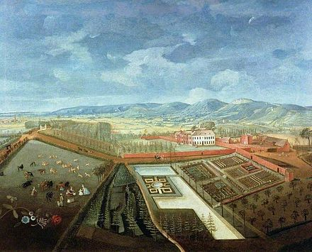 Thomas Robins, Panoramic View of Charlton Park, Cheltenham, Gloucestershire. Oil on canvas, c. 1748. Cheltenham Art Gallery & Museum. Panoramic View of Charlton Park, Thomas Robins.jpg