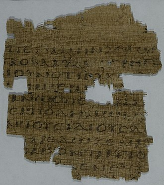 Matthew 25 - Matthew 25:12-15,20-23 on the recto side of Papyrus 35 from 3rd/4th century.