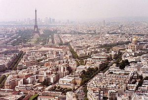 7th arrondissement of Paris - View over the 7th arrondissement, dominated by the Eiffel Tower, and the Invalides.