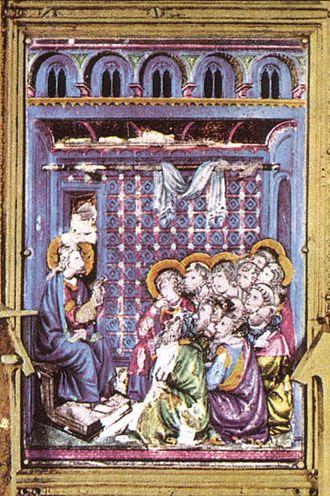 Reliquary of the Santo Corporale - Image: Particolare di una scena in smalto translucido del reliquiario del coprorale di bolsena, duomo di orvieto, fatto da ugolino di Vieri, senese, tra il 1337 e il 1338