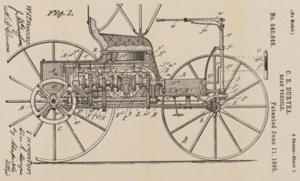 Duryea Motor Wagon - Patent drawing for the Duryea Road Vehicle, 1895