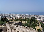 View of Patras from its fortress (the dome of the cathedral Agios Andreas can be seen near the coastline). Achaea, Greece.