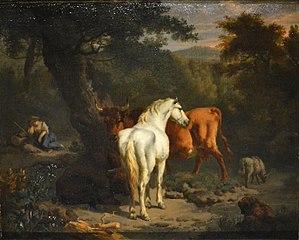 Paysage au cheval blanc
