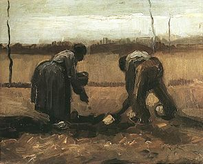 Peasant and Peasant Woman Planting Potatoes