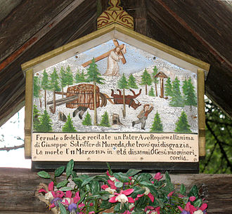 Val Gardena - Accidents like the one depicted were frequent among the farmers collecting timber in the woods during harsh winters in Gherdëina