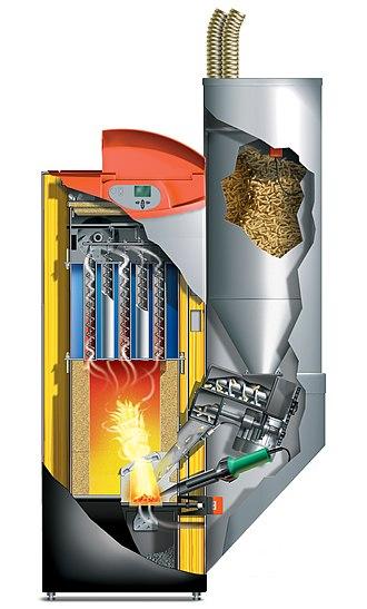 Pellet stove - Modern pellet stove cross section