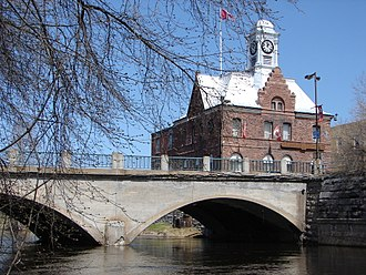 Pembroke, Ontario - Pembroke Street Bridge crossing the Muskrat River, with City Hall in the background.