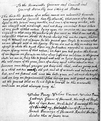 Petition for bail of eleven accused people from Ipswich, 1692 PetitionForBailFromAccusedWitches.jpg