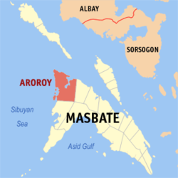 Map of Masbate with Aroroy highlighted