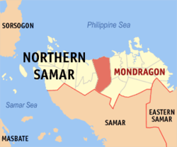 Map of Northern Samar with Mondragon highlighted