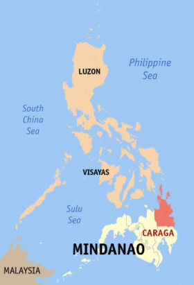 Situation de la région de Caraga (en rouge) aux Philippines.
