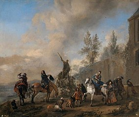 Falconers setting out on a Hunt
