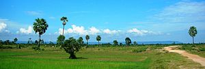Phnom Kulen - Phnom Kulen appears as a long, continuous silhouette in the background