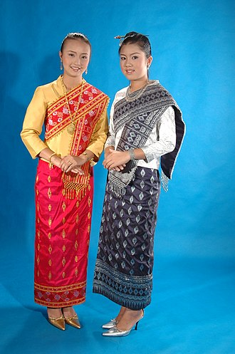 Women in Laos - Two young Lao women in traditional clothes.