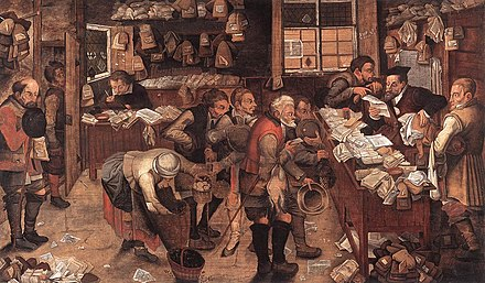 Peasants paying for legal services with produce in The Village Lawyer, c. 1621, by Pieter Brueghel the Younger Pieter Brueghel the Younger - Village Lawyer - WGA3633.jpg