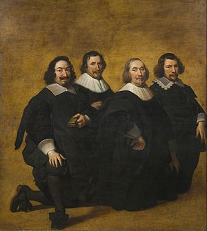 Pieter van der Plas I - Portrait of four kneeling men
