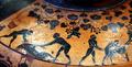 Pittore del louvre E739, hydria ricci, etruria (artigiani da focea), dalla banditaccia, 530 ac. ca., preparazione di sacrificio 02 uccisione maiale cropped white-balanced.png