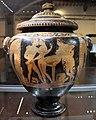 Pittore di Sarteano, stamnos etrusco con coperchio, con due giovani nudi, ragazza seminuda, satirello e menadi, 340 ac ca., da dintorni di perugia 02.jpg