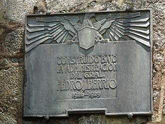 "Antioquia Railway - Plaque outside the La Quebrada Tunnel. It reads, ""Constructed under the administration of Gov. Pedro Justo Berrío."