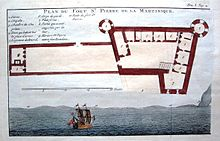 Plan du fort Saint-Pierre de la Martinique par Jean-Baptiste Labat.