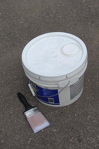 Pail (container) - Three gallon plastic pail of paint with screw closure