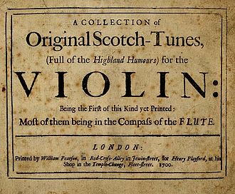 Scottish folk music - Cover of John Playford's Collection of original Scotch-tunes, (full of the highland humours) for the violin (1700)