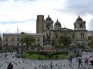 Plaza Murillo - View of Plaza Murillo looking towards Presidential Palace and Cathedral