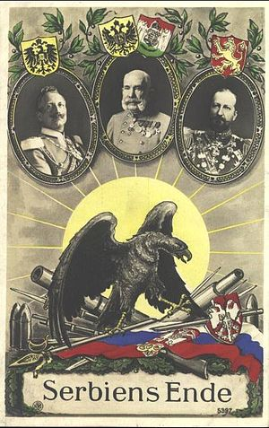 Macedonian Front - A propaganda postcard commemorating the victory of the Central Powers over Serbia in 1915.