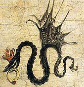 Cranach-Signatur (gekrönte und geflügelte Schlange mit Ring im Maul) auf dem Bildnis der Katharina von Mecklenburg von 1514 (Quelle: Wikimedia)