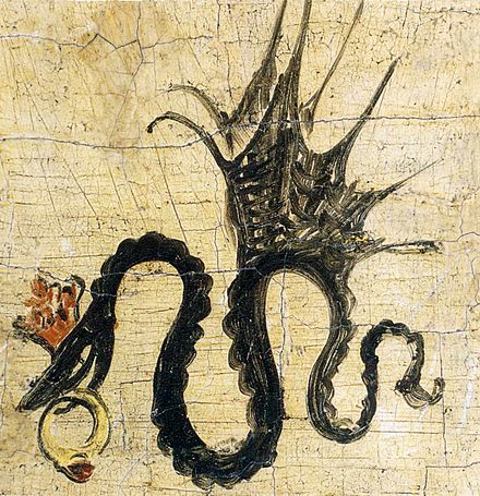 Signature of Cranach the Elder from 1508 on: winged snake with ruby ring (as on painting of 1514) Podpis had cranach starsi.jpg