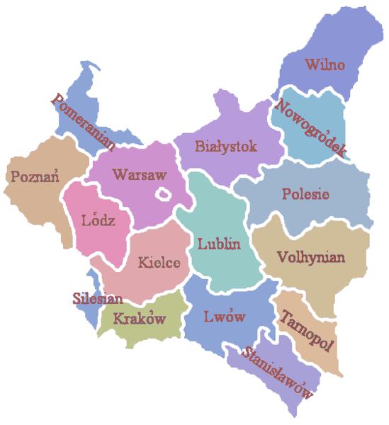Poland administrative division 1922 literki
