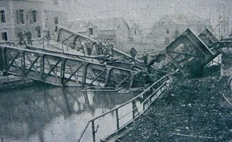 Battle of Cambrai (1917) - The bridge at Masnières, collapsed by the weight of a Mark IV tank