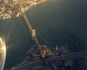 Hercilio Luz Bridge - Aerial view of Hercilio Luz Bridge