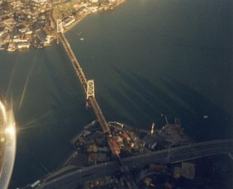 Hercilio Luz Bridge - Aerial view of Hercilio Luz Bridge