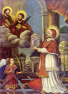 Pope Felix presents church to Cosmas and Damian.jpg