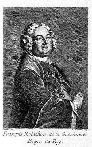 an old engraving of a heavyset man in 18th century clothing