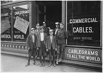 Postal Telegraph Company - Image: Postal Telegraph Messengers. (Indiana has no age limit for messengers.) Indianapolis, Ind. NARA 523084