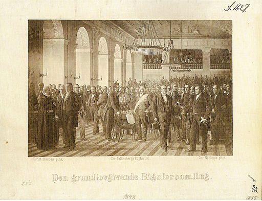 Postkort af den grundlovgivende forsamling 1848