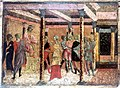 Potiphar's wife denouncing Joseph to Potiphar. Tempera paint Wellcome L0011048.jpg
