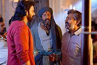 Prabhas and Sathyaraj filming Bahubali the Conclusion.jpg