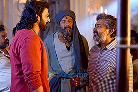 Prabhas and Sathyaraj filming Bahubali the Conclusion.jpg